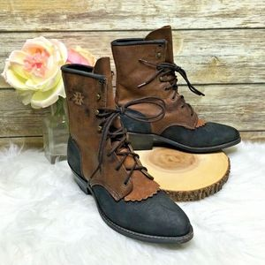Vntg Brown & Black Nubuck Leather Granny Boots
